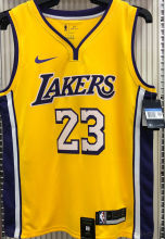LA Lakers James # 23 V-Neck Yellow NBA Jerseys Hot Pressed