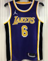 2021 LA Lakers Jordan James # 6 Purple NBA Jerseys Hot Pressed
