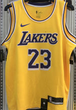 LA Lakers James #23 Yellow NBA Jerseys Hot Pressed