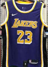 LA Lakers James #23 Purple NBA Jerseys Hot Pressed