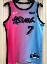 2021 Miami Heat DRAGIC #7 City Edition Pink Blue NBA Jerseys Hot Pressed