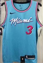 2021 Miami Heat WADE #3 Blue NBA Jerseys Hot Pressed