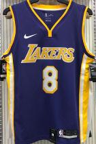 LA Lakers Bryant # 8 V-Neck Purple NBA Jerseys Hot Pressed
