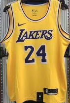 LA Lakers Bryant #24 Yellow NBA Jerseys Hot Pressed