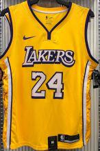 LA Lakers Bryant # 24 V-Neck City Edition Yellow NBA Jerseys Hot Pressed