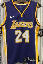 LA Lakers Bryant # 24 V-Neck Purple NBA Jerseys Hot Pressed