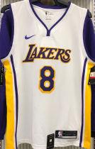 LA Lakers Bryant # 8 V-Neck White NBA Jerseys Hot Pressed