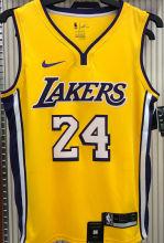 LA Lakers Bryant # 24 V-Neck Yellow NBA Jerseys Hot Pressed
