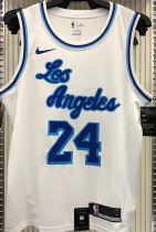 LA Lakers Bryant # 24 White NBA Jerseys Hot Pressed