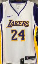LA Lakers Bryant # 24 V-Neck White NBA Jerseys Hot Pressed