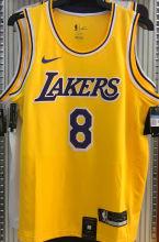 LA Lakers Bryant #8 Yellow NBA Jerseys Hot Pressed