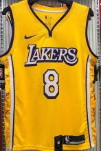 LA Lakers Bryant # 8 V-Neck City Edition Yellow NBA Jerseys Hot Pressed