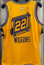 Warriors WIGGINS #22 Tram Version Yellow Socks NBA Jerseys Hot Pressed电车版