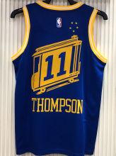 Warriors THOMPSON #11 Tram Version Blue Socks NBA Jerseys Hot Pressed电车版
