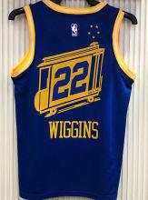 Warriors WIGGINS #22 Tram Version Blue Socks NBA Jerseys Hot Pressed电车版