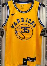 Warriors DURANT #35 Yellow Socks NBA Jerseys Hot Pressed