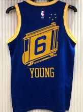Warriors YOUNG #6 Tram Version Blue Socks NBA Jerseys Hot Pressed电车版