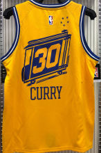 Warriors CURRY #30 Tram Version Yellow Socks NBA Jerseys Hot Pressed电车版