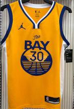 2021 Warriors Jordan CURRY #30 Golden NBA Jerseys Hot Pressed