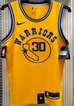 Warriors CURRY #30 Yellow Socks NBA Jerseys Hot Pressed