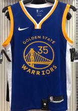 2021 Warriors DURANT #35 V-Neck Blue NBA Jerseys Hot Pressed