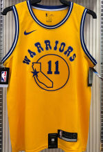 Warriors THOMPSON #11 Yellow Socks NBA Jerseys Hot Pressed