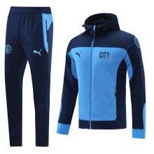 2021 Man City Blue Hoody Zipper Jacket Tracksuit