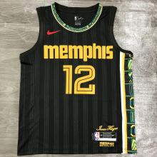 2021 Grizzlies Morant #12 City Edition Black NBA Jerseys Hot Pressed
