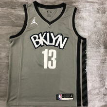 2021 Nets Jordan Harden #13 City Edition Gray NBA Jerseys Hot Pressed