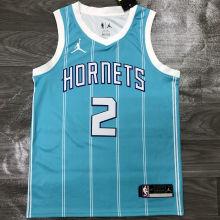 2021 Hornets Jordan BALL #2 Blue NBA Jerseys Hot Pressed