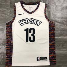 Nets Harden #13 White NBA Jerseys Hot Pressed
