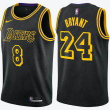 LA Lakers Before #8 After Bryant  #24 Black Snake NBA Jerseys Hot Pressed前8后24