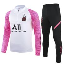 2021 PSG White And Pink Half Pull Sweater Tracksuit