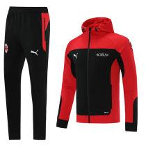 2021/22 AC Milan Red Black Hoody Zipper Jacket Tracksuit