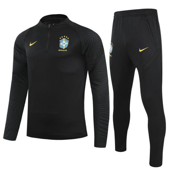 2021 Brazil Black Half Pull Sweater Tracksuit