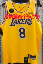 LA Lakers Bryant #8 Yellow NBA Jerseys Hot Pressed(Have KB+Wish)有胸前小广告)