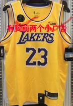LA Lakers James #23 Yellow NBA Jerseys Hot Pressed(Have KB+Wish)有胸前小广告
