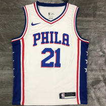 76ers EMBIID #21 White NBA Jerseys Hot Pressed