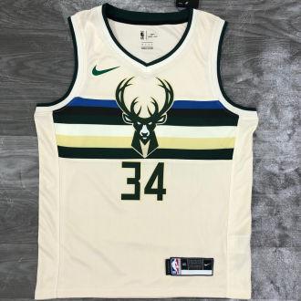 2021 Bucks Antetokounmpo #34 White NBA Jerseys Hot Pressed