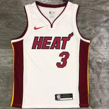 2021 Miami Heat WADE #3 White NBA Jerseys Hot Pressed