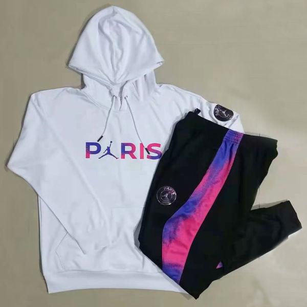 2021 Paris White Hoodie Training Tracksuit