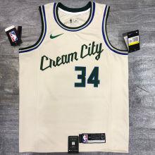 2021 Bucks Antetokounmpo #34 Beige NBA Jerseys Hot Pressed