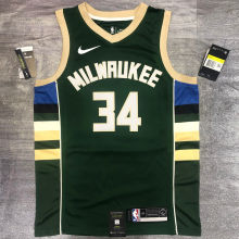 2021 Bucks Antetokounmpo #34 Green NBA Jerseys Hot Pressed
