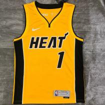 2021 Miami Heat BOSH # 1 EARNED Edition Yellow NBA Jerseys Hot Pressed