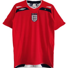 2008/2010 England Away Red Retro Soccer Jersey