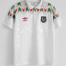 1990/92 Wales Away White Retro Soccer Jersey