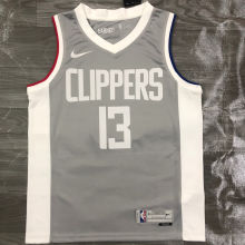 2021 Clippers GE0RGE #13  EARNED Edition Grey NBA Jerseys Hot Pressed