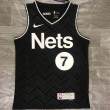 2021 Nets Durant #7 EARNED Edition Black NBA Jerseys Hot Pressed
