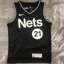 2021 Nets ALDRIDGE #21 EARNED Edition Black NBA Jerseys Hot Pressed