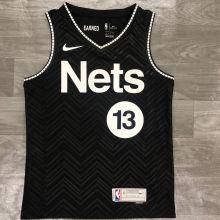 2021 Nets HARDEN #13 EARNED Edition Black NBA Jerseys Hot Pressed